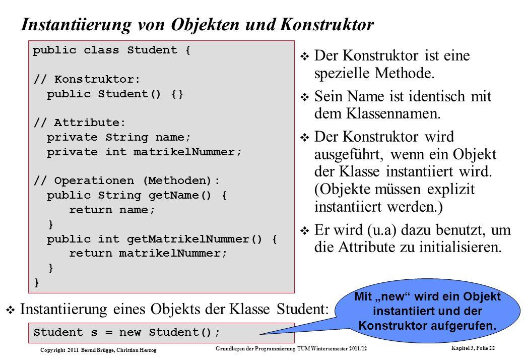Copyright 2011 Bernd Brügge, Christian Herzog Grundlagen der Programmierung TUM Wintersemester 2011/12 Kapitel 3, Folie 22 Instantiierung von Objekten