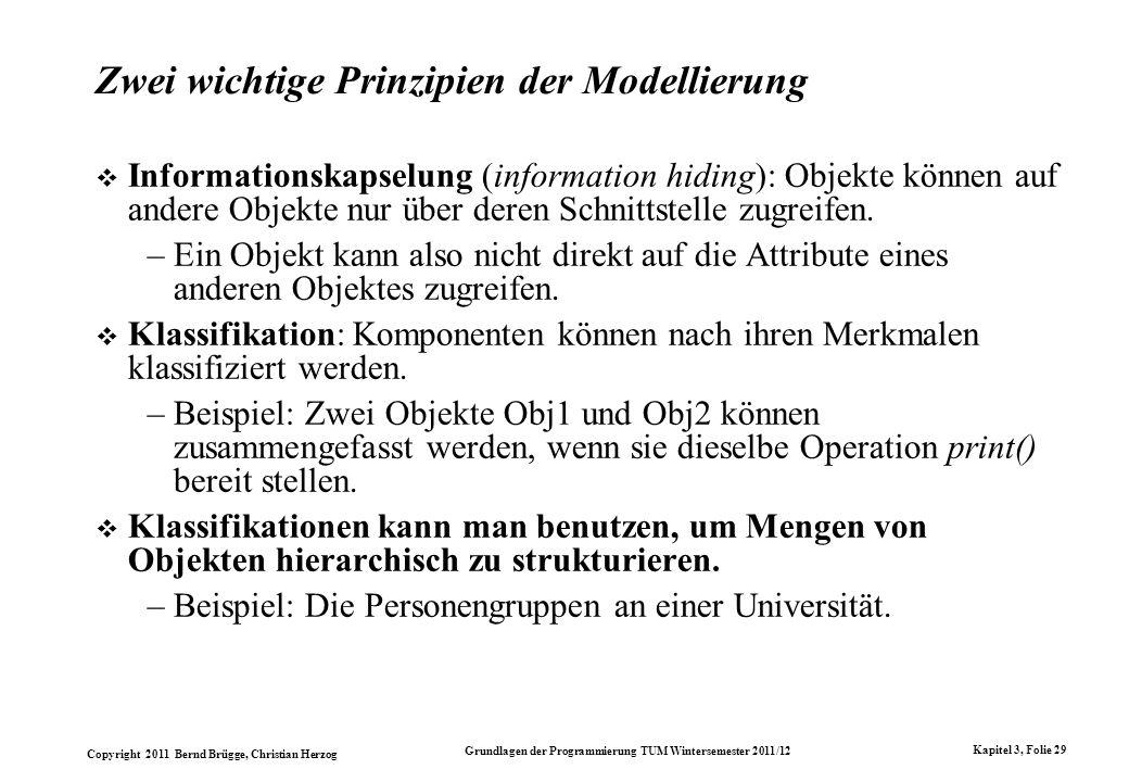 Copyright 2011 Bernd Brügge, Christian Herzog Grundlagen der Programmierung TUM Wintersemester 2011/12 Kapitel 3, Folie 29 Zwei wichtige Prinzipien de