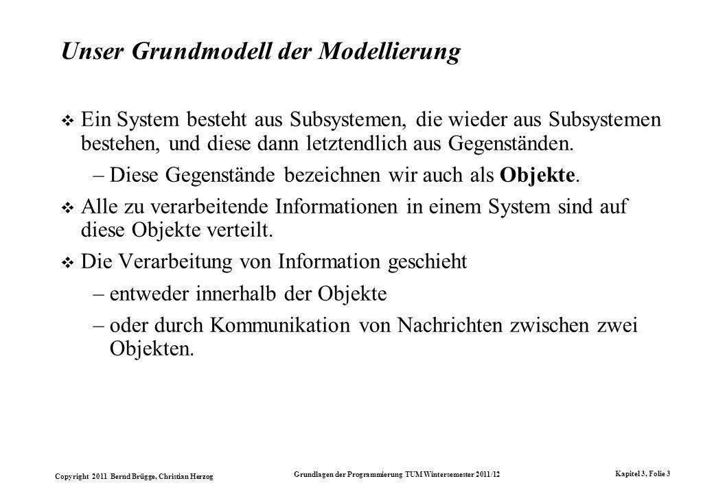 Copyright 2011 Bernd Brügge, Christian Herzog Grundlagen der Programmierung TUM Wintersemester 2011/12 Kapitel 3, Folie 3 Unser Grundmodell der Modell