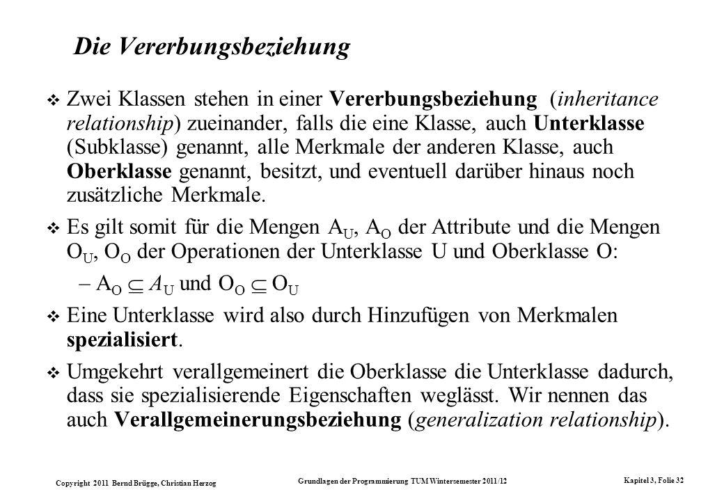 Copyright 2011 Bernd Brügge, Christian Herzog Grundlagen der Programmierung TUM Wintersemester 2011/12 Kapitel 3, Folie 32 Die Vererbungsbeziehung Zwe