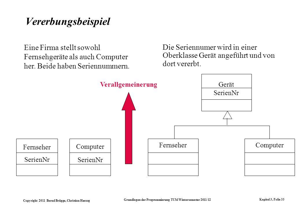 Copyright 2011 Bernd Brügge, Christian Herzog Grundlagen der Programmierung TUM Wintersemester 2011/12 Kapitel 3, Folie 33 Vererbungsbeispiel Fernsehe