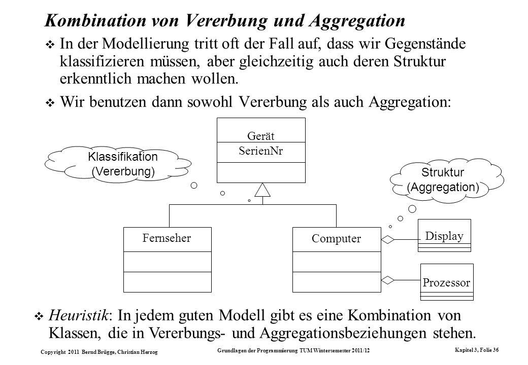 Copyright 2011 Bernd Brügge, Christian Herzog Grundlagen der Programmierung TUM Wintersemester 2011/12 Kapitel 3, Folie 36 Kombination von Vererbung u