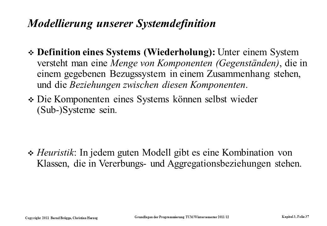Copyright 2011 Bernd Brügge, Christian Herzog Grundlagen der Programmierung TUM Wintersemester 2011/12 Kapitel 3, Folie 37 Modellierung unserer System