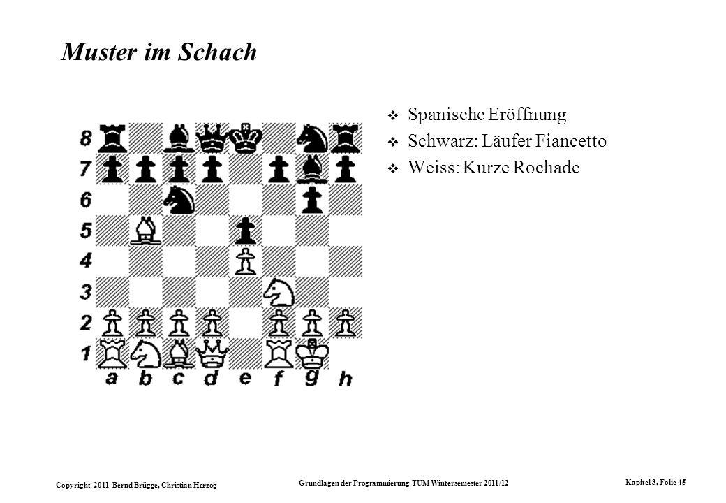 Copyright 2011 Bernd Brügge, Christian Herzog Grundlagen der Programmierung TUM Wintersemester 2011/12 Kapitel 3, Folie 45 Muster im Schach Spanische