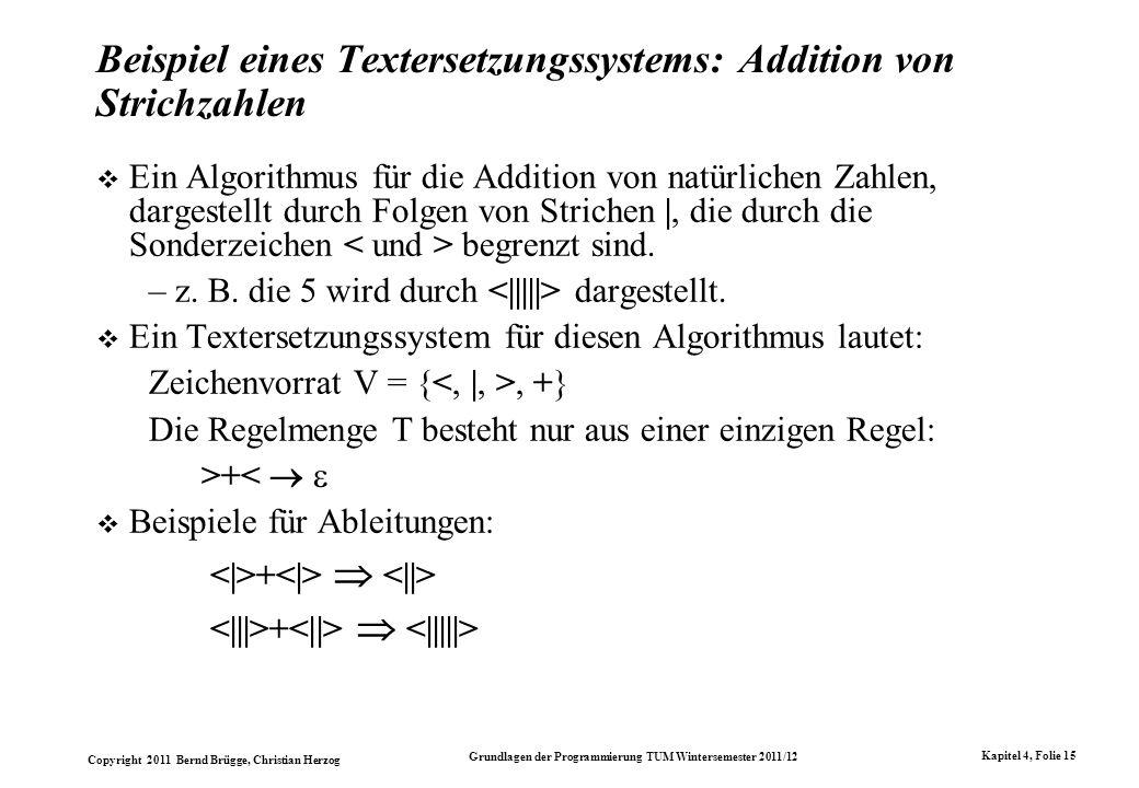 Copyright 2011 Bernd Brügge, Christian Herzog Grundlagen der Programmierung TUM Wintersemester 2011/12 Kapitel 4, Folie 15 Beispiel eines Textersetzun