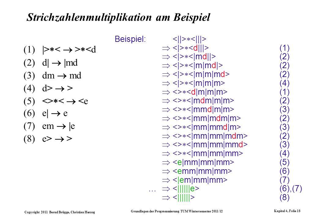 Copyright 2011 Bernd Brügge, Christian Herzog Grundlagen der Programmierung TUM Wintersemester 2011/12 Kapitel 4, Folie 18 Strichzahlenmultiplikation