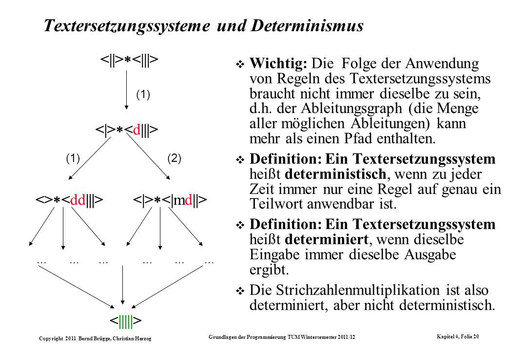 Copyright 2011 Bernd Brügge, Christian Herzog Grundlagen der Programmierung TUM Wintersemester 2011/12 Kapitel 4, Folie 20 Textersetzungssysteme und D