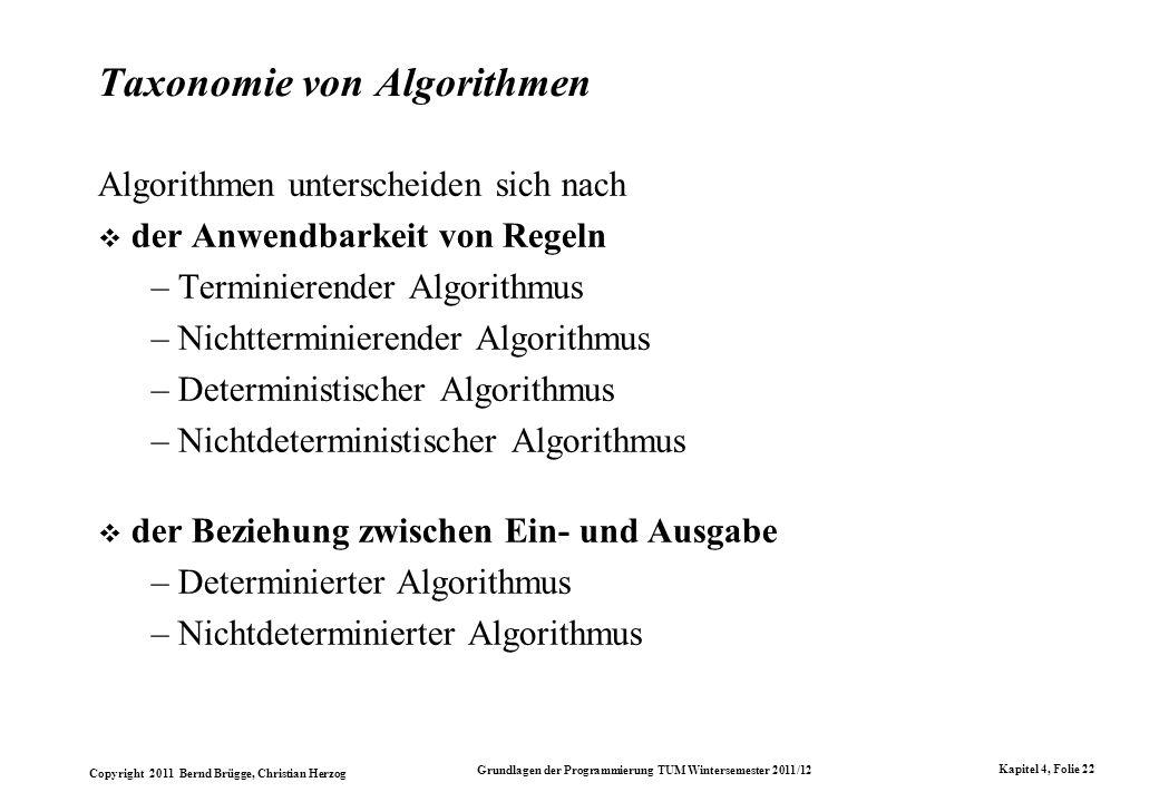 Copyright 2011 Bernd Brügge, Christian Herzog Grundlagen der Programmierung TUM Wintersemester 2011/12 Kapitel 4, Folie 22 Taxonomie von Algorithmen A