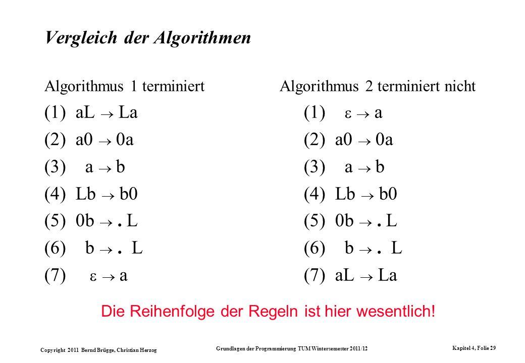 Copyright 2011 Bernd Brügge, Christian Herzog Grundlagen der Programmierung TUM Wintersemester 2011/12 Kapitel 4, Folie 29 Vergleich der Algorithmen A
