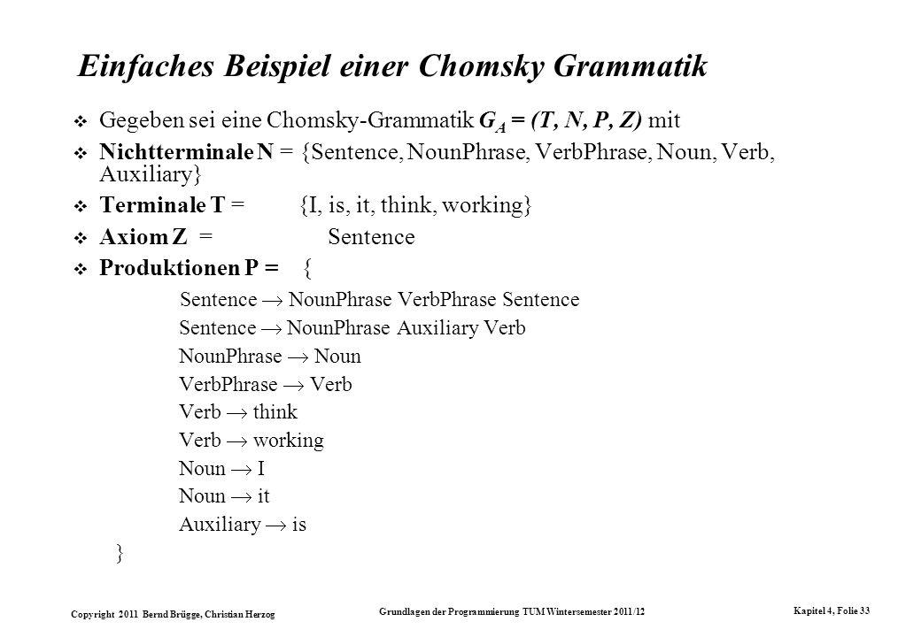 Copyright 2011 Bernd Brügge, Christian Herzog Grundlagen der Programmierung TUM Wintersemester 2011/12 Kapitel 4, Folie 33 Einfaches Beispiel einer Ch