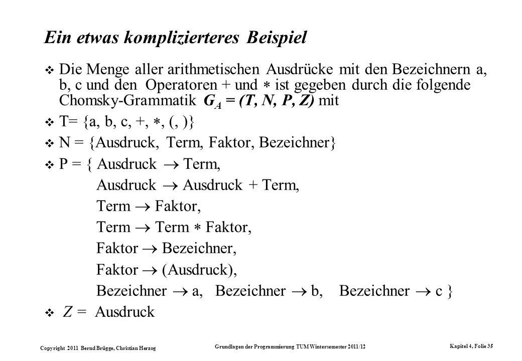 Copyright 2011 Bernd Brügge, Christian Herzog Grundlagen der Programmierung TUM Wintersemester 2011/12 Kapitel 4, Folie 35 Ein etwas komplizierteres B