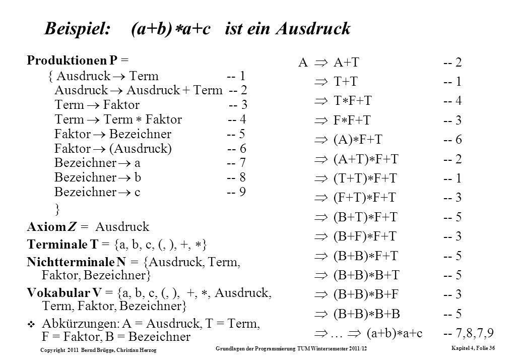 Copyright 2011 Bernd Brügge, Christian Herzog Grundlagen der Programmierung TUM Wintersemester 2011/12 Kapitel 4, Folie 36 Beispiel: (a+b) a+c ist ein