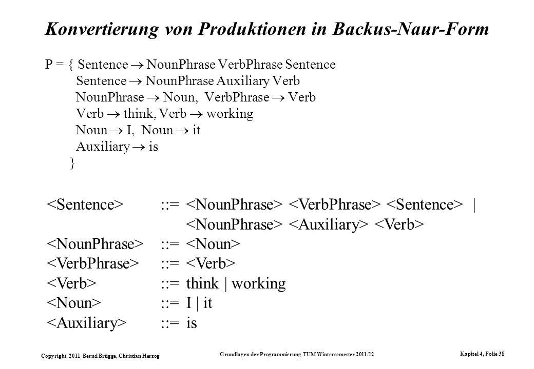 Copyright 2011 Bernd Brügge, Christian Herzog Grundlagen der Programmierung TUM Wintersemester 2011/12 Kapitel 4, Folie 38 Konvertierung von Produktio