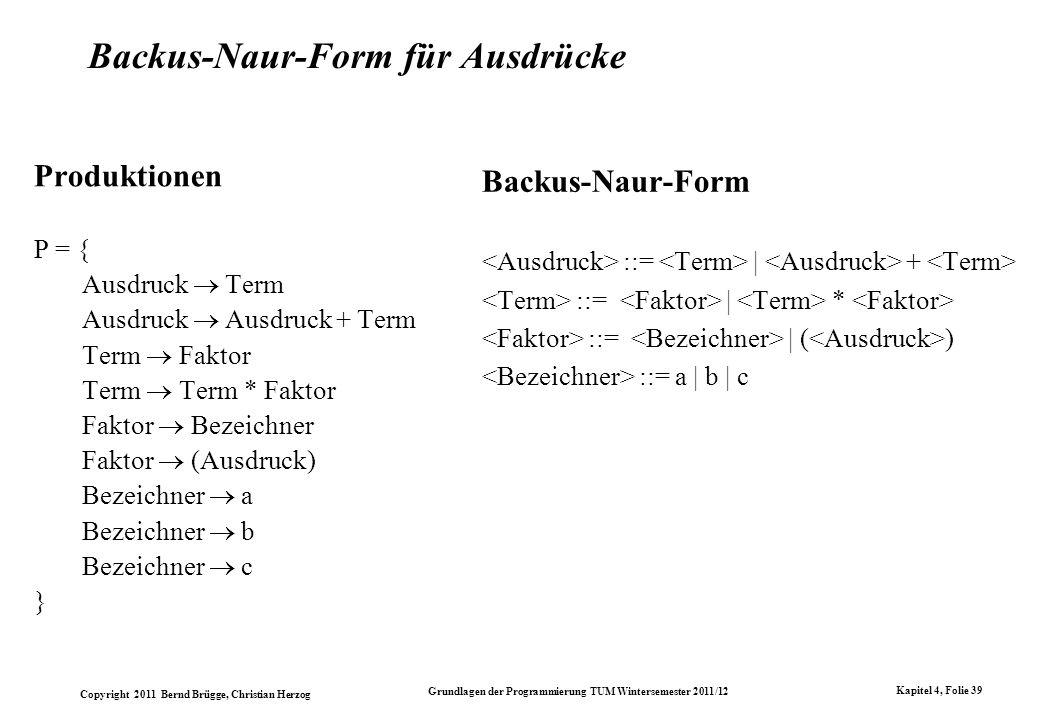 Copyright 2011 Bernd Brügge, Christian Herzog Grundlagen der Programmierung TUM Wintersemester 2011/12 Kapitel 4, Folie 39 Backus-Naur-Form für Ausdrü