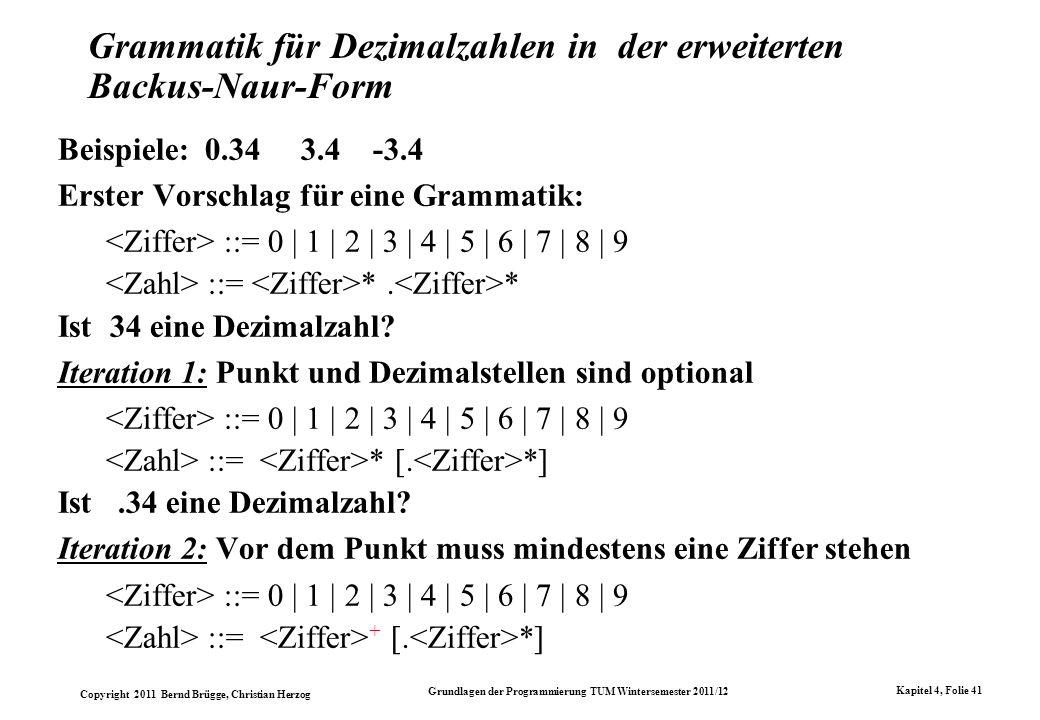 Copyright 2011 Bernd Brügge, Christian Herzog Grundlagen der Programmierung TUM Wintersemester 2011/12 Kapitel 4, Folie 41 Grammatik für Dezimalzahlen