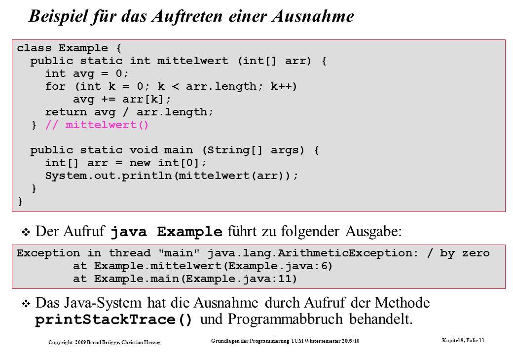 Copyright 2009 Bernd Brügge, Christian Herzog Grundlagen der Programmierung TUM Wintersemester 2009/10 Kapitel 9, Folie 11 Beispiel für das Auftreten