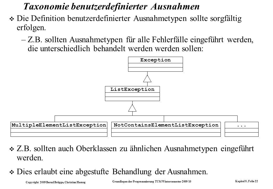 Copyright 2009 Bernd Brügge, Christian Herzog Grundlagen der Programmierung TUM Wintersemester 2009/10 Kapitel 9, Folie 22 Taxonomie benutzerdefiniert