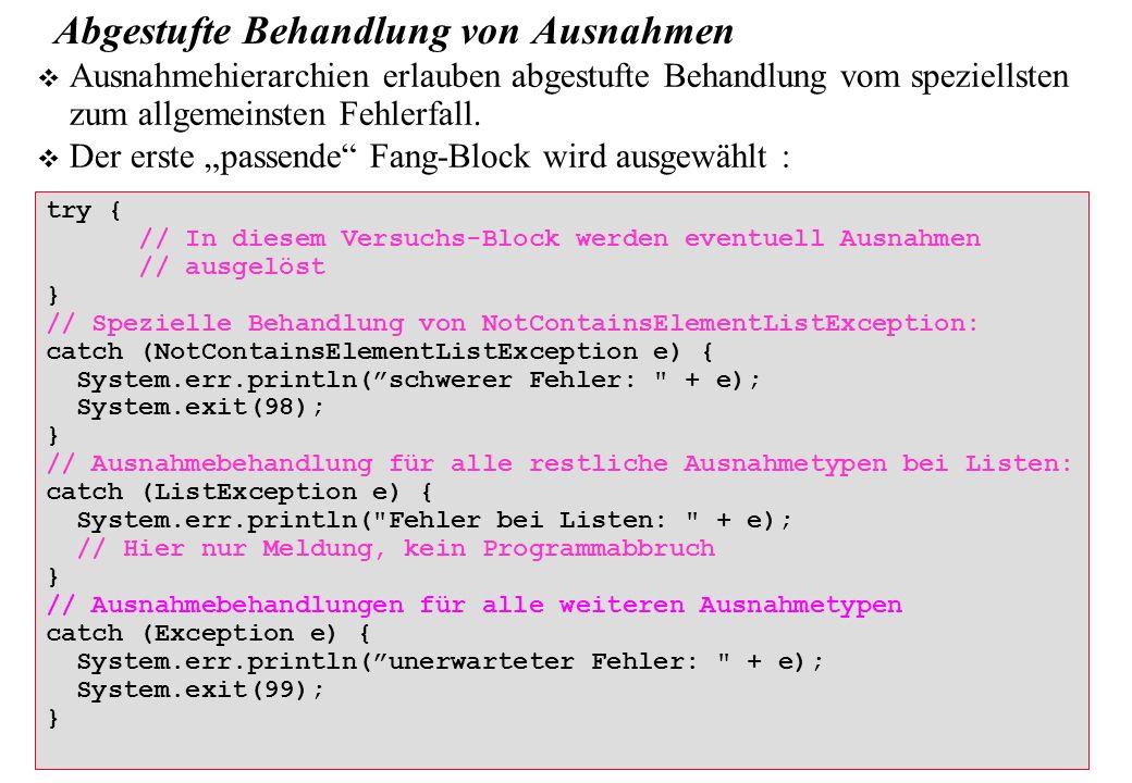 Copyright 2009 Bernd Brügge, Christian Herzog Grundlagen der Programmierung TUM Wintersemester 2009/10 Kapitel 9, Folie 23 try { // In diesem Versuchs