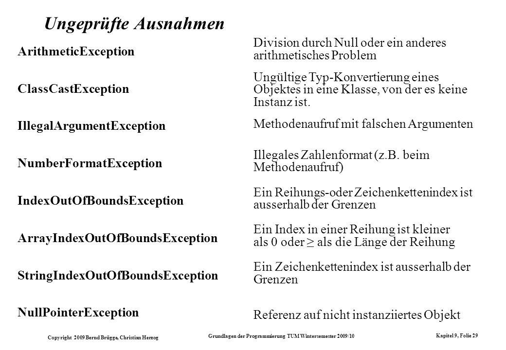 Copyright 2009 Bernd Brügge, Christian Herzog Grundlagen der Programmierung TUM Wintersemester 2009/10 Kapitel 9, Folie 29 Ungeprüfte Ausnahmen Arithm
