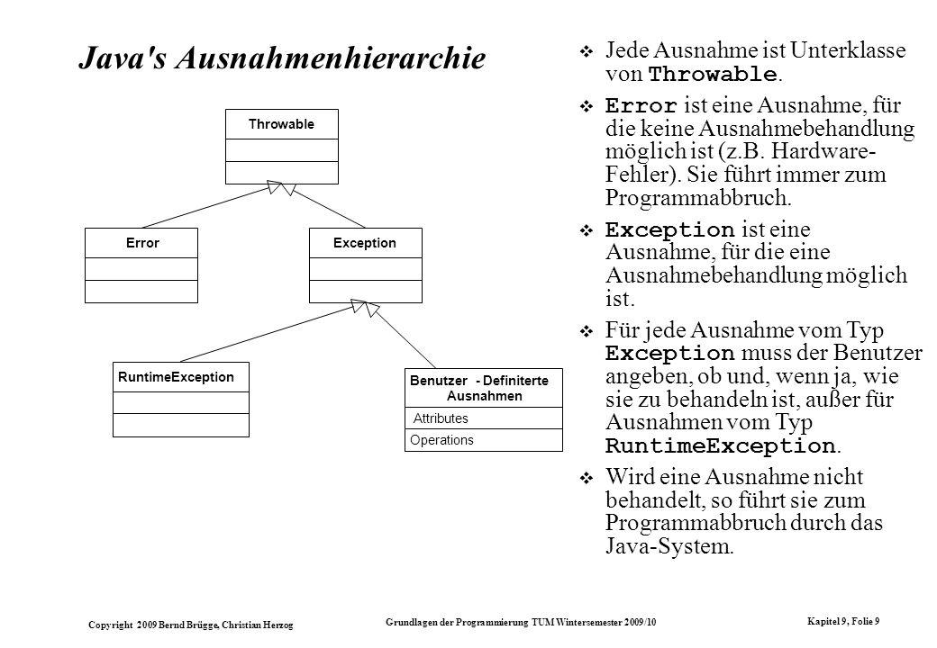 Copyright 2009 Bernd Brügge, Christian Herzog Grundlagen der Programmierung TUM Wintersemester 2009/10 Kapitel 9, Folie 9 Java's Ausnahmenhierarchie T