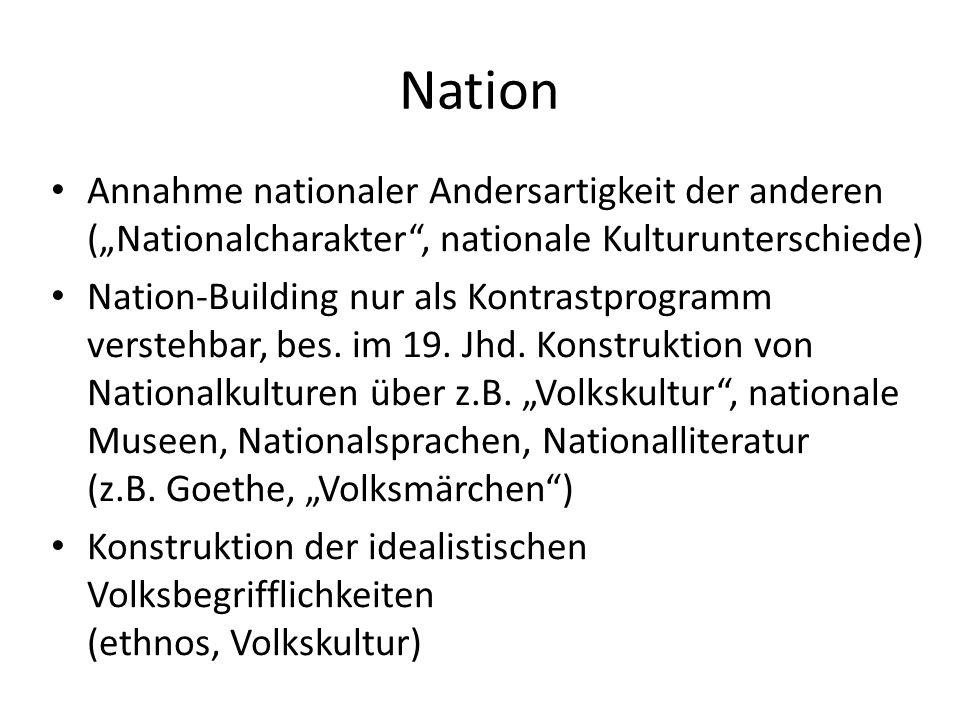 Nation Annahme nationaler Andersartigkeit der anderen (Nationalcharakter, nationale Kulturunterschiede) Nation-Building nur als Kontrastprogramm verst