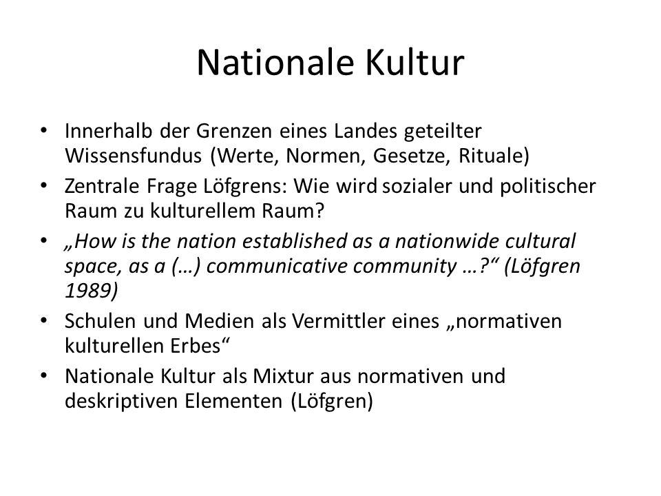 Nationale Kultur Innerhalb der Grenzen eines Landes geteilter Wissensfundus (Werte, Normen, Gesetze, Rituale) Zentrale Frage Löfgrens: Wie wird sozial