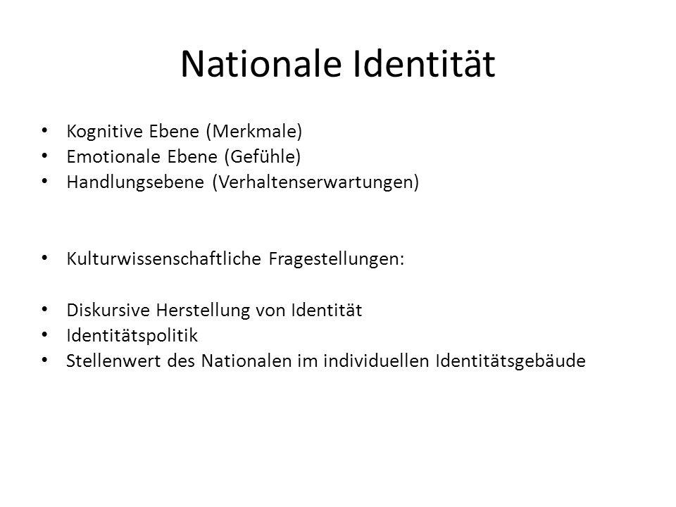 Nationale Identität Kognitive Ebene (Merkmale) Emotionale Ebene (Gefühle) Handlungsebene (Verhaltenserwartungen) Kulturwissenschaftliche Fragestellung