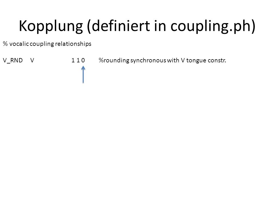 Kopplung (definiert in coupling.ph) % onset coupling relationships ONS_OBS ONS_CNS1 1 90% onset clusters: 90 degree phase ONS_CNS ONS_REL1 1 65% REL is sequential with respect to constr.