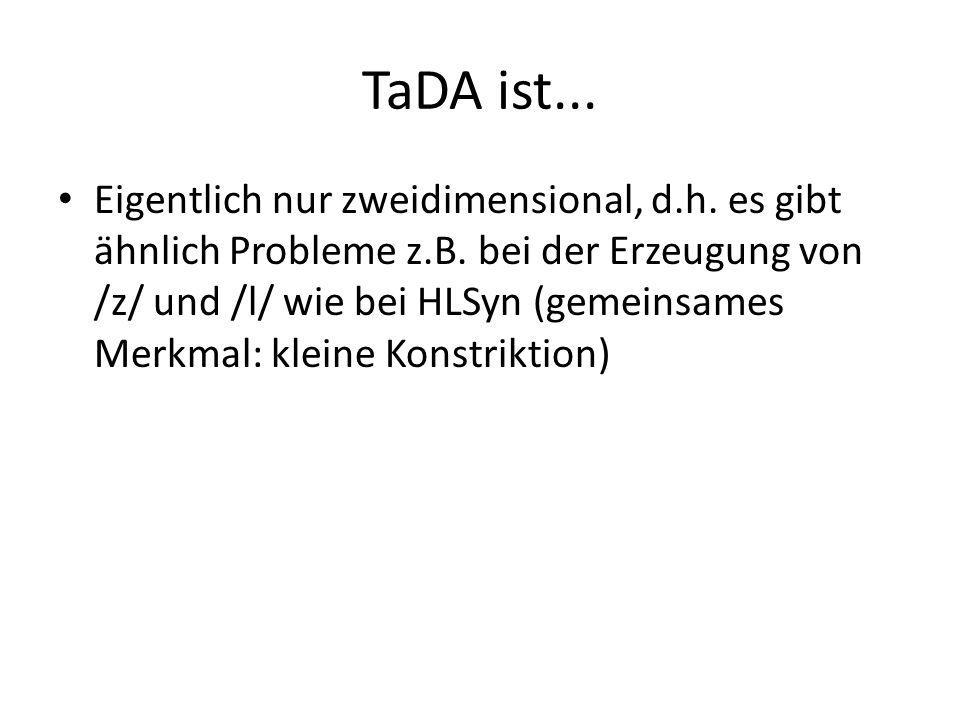 TaDA ist... Sprachabhängig: auch articulatory phonology trifft natürlich nur Aussagen über Einzelsprachen; die Gestenpartituren sind somit sprachabhän
