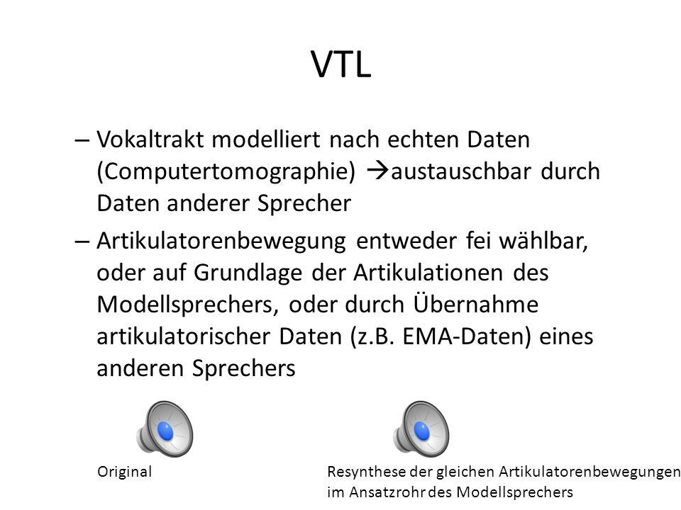 VTL wirklich dreidimensional 22 Freiheitsgrade bzw. Kontrollparameter, die die Position und Form der Artikulatoren variierbar halten 3 verschiedene Mo