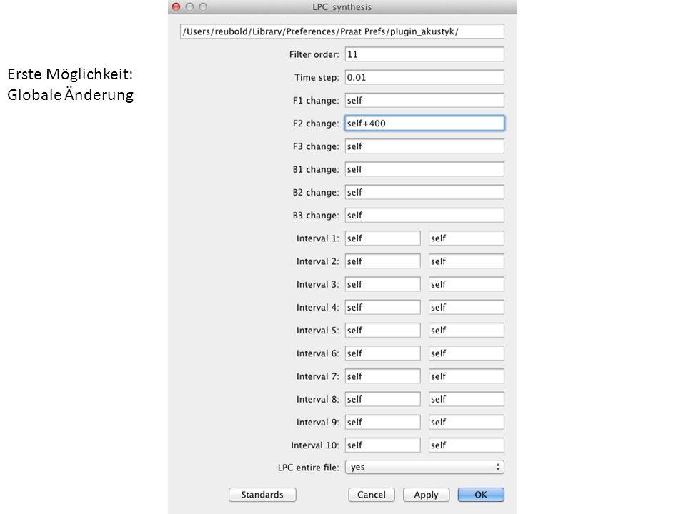 http://bartus.org/akustyk/ Add-on zu praat, das u.a. die LPC-Resynthese wesentlich vereinfacht Ist aber nur eine Scriptsammlung, automatisiert also nu
