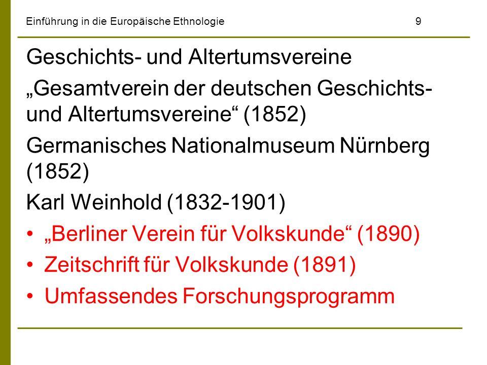Einführung in die Europäische Ethnologie10 Volkswirtschaftslehre: Historische Schule –Gustav Schmoller (1838-1917) –Karl Bücher (1847-1930) Soziale Frage –Rudolf Virchow (1821-1902) –Karl Marx (1818-1883) –Friedrich Engels (1820-1895) Gemeinschaft und Gesellschaft –Ferdinand Tönnies (1855-1936)
