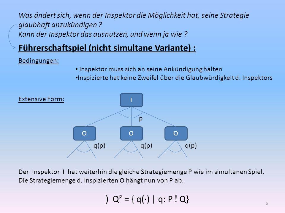 Lösung des Führerschaftspiels (nicht-simultanes Spiel): Strategiekombination (p**,q**) mit p** 2 P und q** 2 Q P heißt Nash-Lsg., wenn: I(p**, q**(p**)) ¸ I(p, q**(p**)) 8 {p 2 P} O(p**,q**(p**)) ¸ O(p**,q(p**)) 8 {q() 2 Q P } Also:Dadurch bleibt auch die Auszahlung d.