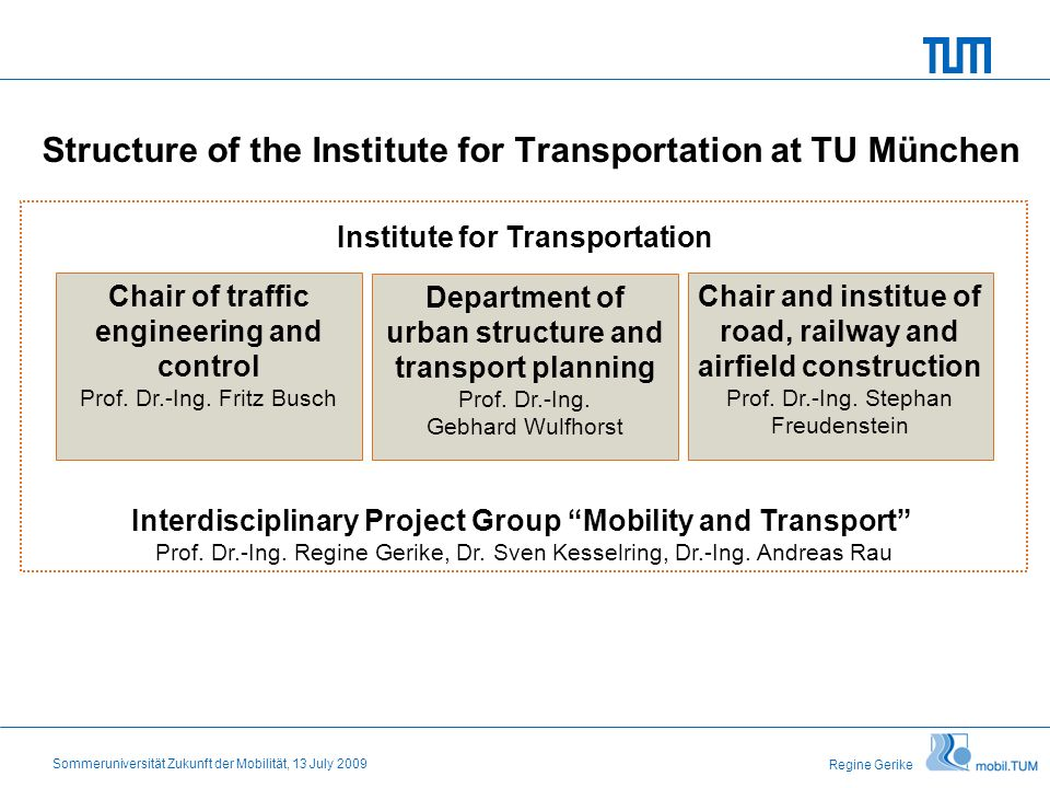 Regine Gerike Sommeruniversität Zukunft der Mobilität, 13 July 2009 Structure of the Institute for Transportation at TU München Department of urban structure and transport planning Prof.