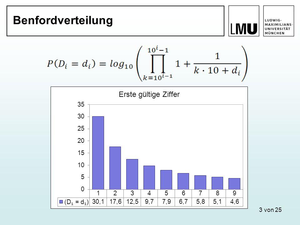 Zweite gültige ZifferDritte gültige Ziffer Vierte gültige Ziffer Erste gültige Ziffer 14 von 25 Aggregatdaten Durchschnittliche Fallzahl um H 0 mit einer Wahrscheinlich- keit von 95 % abzulehnen: 1.