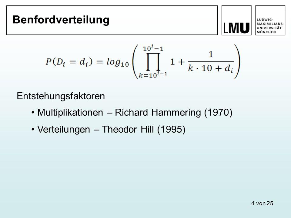 4 von 25 Benfordverteilung Entstehungsfaktoren Multiplikationen – Richard Hammering (1970) Verteilungen – Theodor Hill (1995)