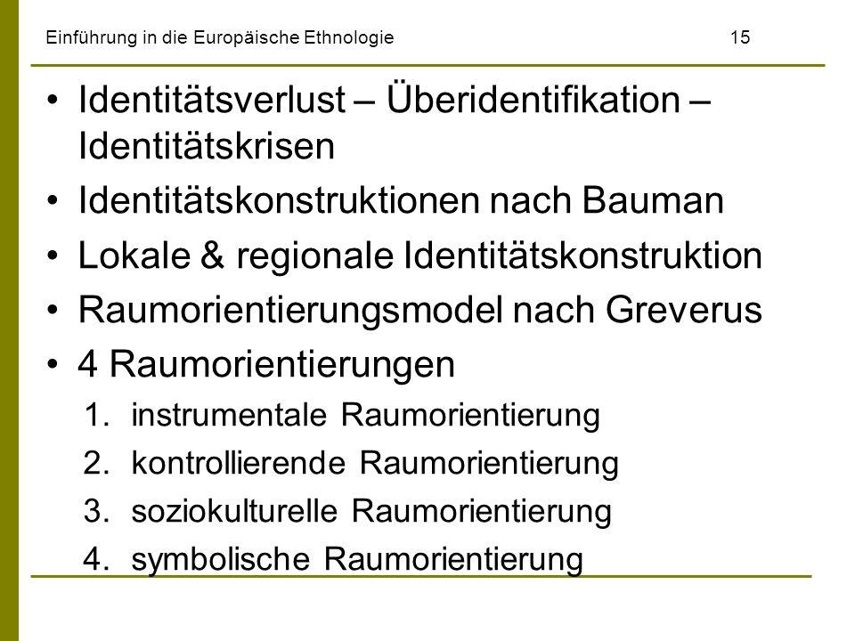 Einführung in die Europäische Ethnologie15 Identitätsverlust – Überidentifikation – Identitätskrisen Identitätskonstruktionen nach Bauman Lokale & reg