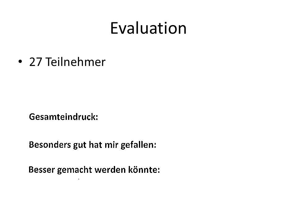 Evaluation 27 Teilnehmer