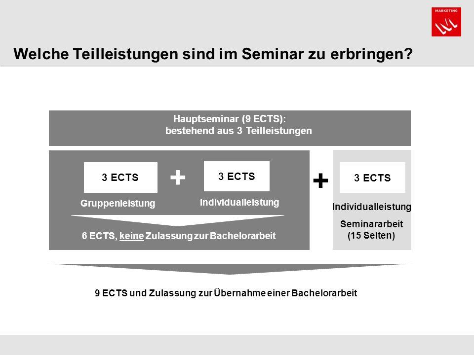 Hauptseminar (9 ECTS): bestehend aus 3 Teilleistungen 3 ECTS Individualleistung Gruppenleistung Seminararbeit (15 Seiten) 6 ECTS, keine Zulassung zur