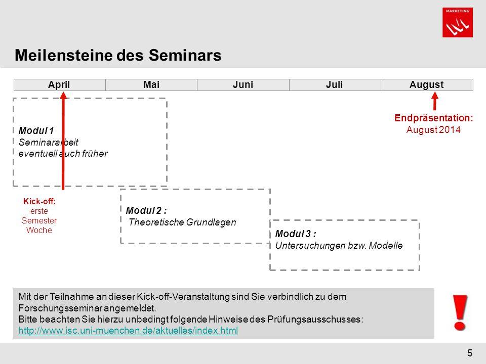 5 Mai Modul 1 Seminararbeit eventuell auch früher Modul 2 : Theoretische Grundlagen Modul 3 : Untersuchungen bzw. Modelle JuniJuliAugustApril Meilenst