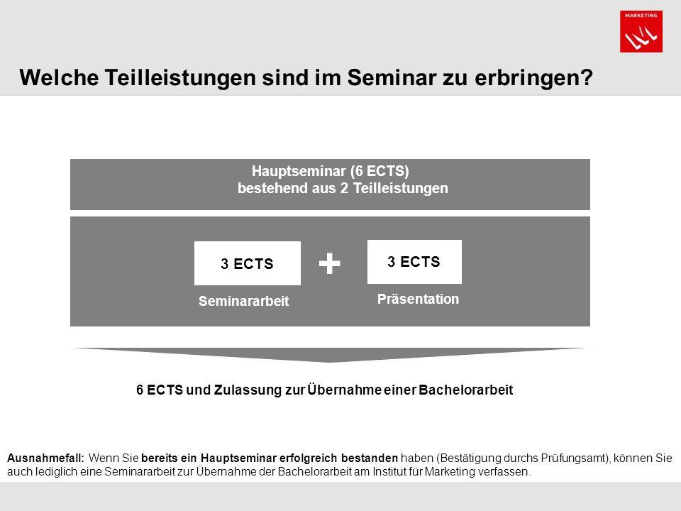 Hauptseminar (6 ECTS) bestehend aus 2 Teilleistungen 3 ECTS Präsentation Seminararbeit 6 ECTS und Zulassung zur Übernahme einer Bachelorarbeit + Welche Teilleistungen sind im Seminar zu erbringen.