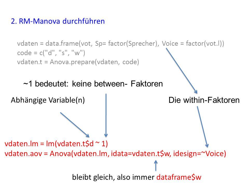 2. RM-Manova durchführen vdaten.lm = lm(vdaten.t$d ~ 1) vdaten.aov = Anova(vdaten.lm, idata=vdaten.t$w, idesign=~Voice) vdaten = data.frame(vot, Sp= f
