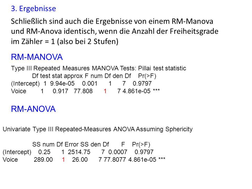 3. Ergebnisse Schließlich sind auch die Ergebnisse von einem RM-Manova und RM-Anova identisch, wenn die Anzahl der Freiheitsgrade im Zähler = 1 (also
