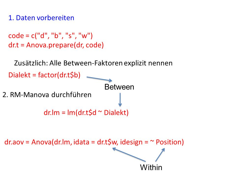 1. Daten vorbereiten 2. RM-Manova durchführen code = c(
