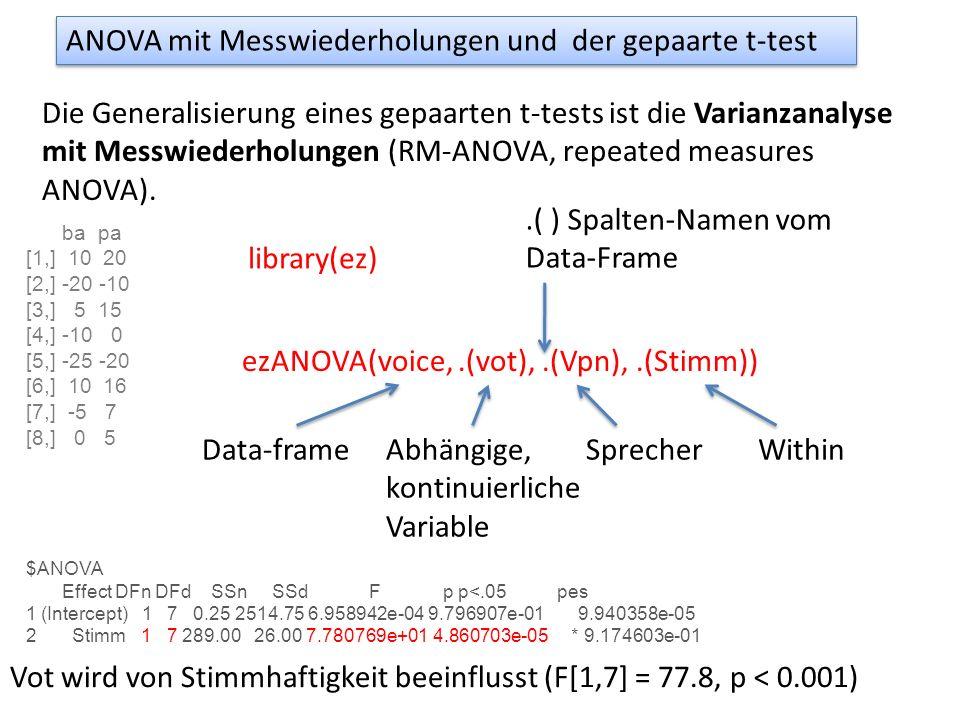 ANOVA mit Messwiederholungen und der gepaarte t-test Die Generalisierung eines gepaarten t-tests ist die Varianzanalyse mit Messwiederholungen (RM-ANO