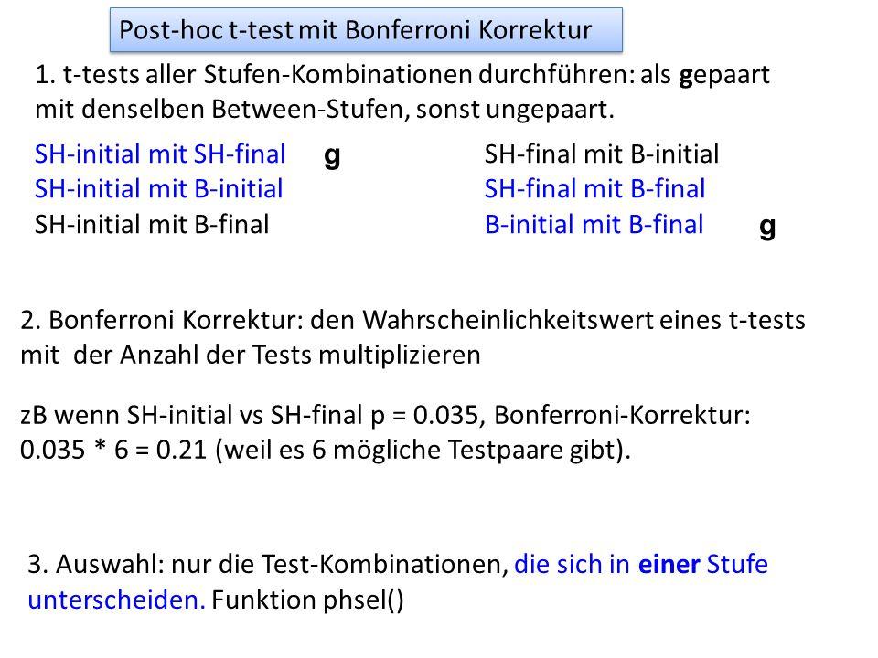 Post-hoc t-test mit Bonferroni Korrektur 1. t-tests aller Stufen-Kombinationen durchführen: als gepaart mit denselben Between-Stufen, sonst ungepaart.