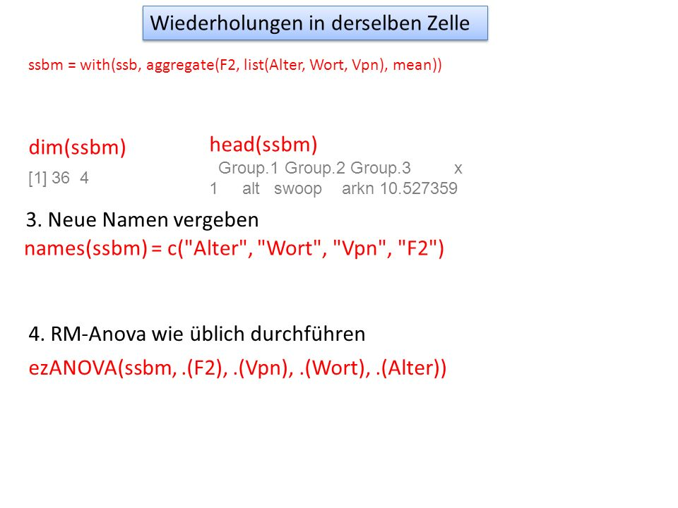 dim(ssbm) [1] 36 4 head(ssbm) Group.1 Group.2 Group.3 x 1 alt swoop arkn 10.527359 3. Neue Namen vergeben names(ssbm) = c(