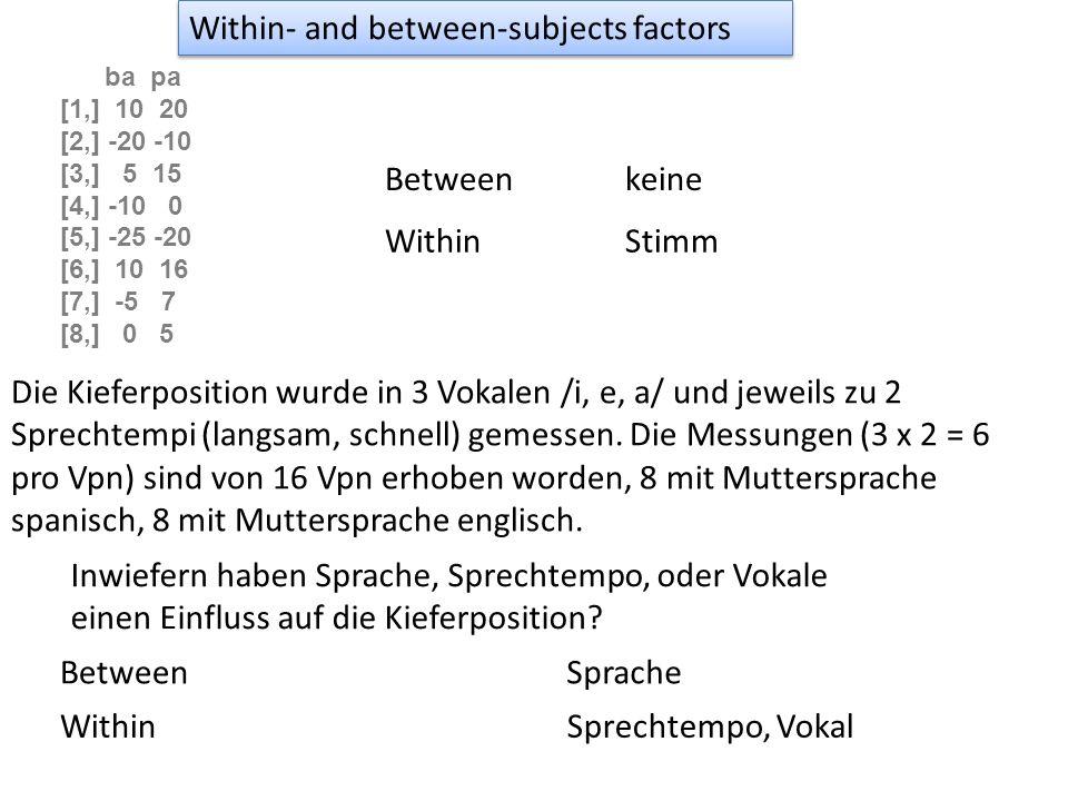 Post-hoc t-test mit Bonferroni Korrektur dr.p = phoc(dr,.(D),.(Vpn),.(Dialekt, Position)) Data-FrameSprecher.(Dialekt, Position) Alle Faktoren, die post-hoc getestet werden sollen