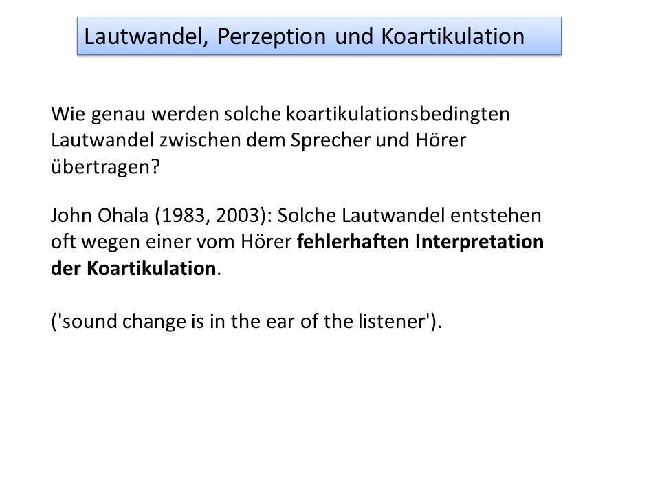 F2 Entfernung Decade /u/-Frontierung, Koartikulation, Lautwandel (Harrington, 2007, Laboratory Phonology 9, S 125-143) j u Dieser synchrone Vorgang de
