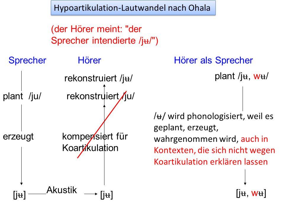 John Ohala (1983, 2003): Solche Lautwandel entstehen oft wegen einer vom Hörer fehlerhaften Interpretation der Koartikulation. ('sound change is in th